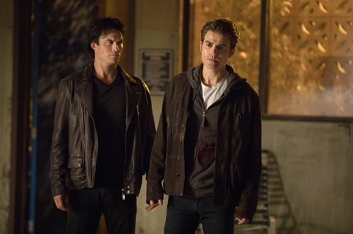 "The Vampire Diaries -- ""Detoured on Some Random Backwoods Path to Hell"" --Image Number: VD806B_0262.jpg -- Pictured (L-R): Ian Somerhalder as Damon and Paul Wesley as Stefan -- Photo: Bob Mahoney/The CW -- © 2016 The CW Network, LLC. All rights reserved."