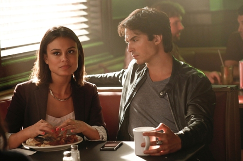 "The Vampire Diaries -- ""Detoured on Some Random Backwoods Path to Hell"" --Image Number: VD806A_0062.jpg -- Pictured (L-R): Nathalie Kelley as Sybil and Ian Somerhalder as Damon -- Photo: Bob Mahoney/The CW -- © 2016 The CW Network, LLC. All rights reserved."