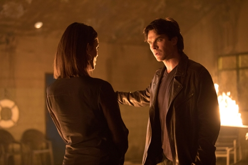 "The Vampire Diaries -- ""Detoured on Some Random Backwoods Path to Hell"" --Image Number: VD806B_0297.jpg -- Pictured (L-R): Nathalie Kelley as Sybil and Ian Somerhalder as Damon -- Photo: Bob Mahoney/The CW -- © 2016 The CW Network, LLC. All rights reserved."